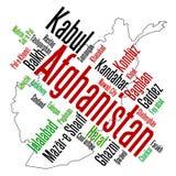 Mapa y ciudades de Afganistán Fotos de archivo libres de regalías
