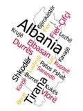 Mapa y ciudades de Albania Fotos de archivo