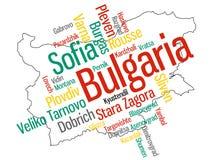 Mapa y ciudades de Bulgaria Imágenes de archivo libres de regalías