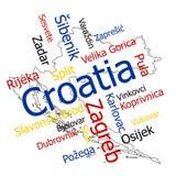 Mapa y ciudades de Croacia Fotografía de archivo libre de regalías