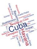 Mapa y ciudades de Cuba Fotos de archivo libres de regalías