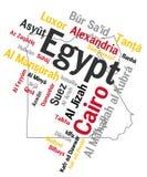 Mapa y ciudades de Egipto Fotos de archivo libres de regalías