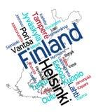 Mapa y ciudades de Finlandia Fotografía de archivo libre de regalías