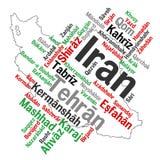 Mapa y ciudades de Irán Imagen de archivo libre de regalías