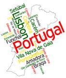Mapa y ciudades de Portugal Imagenes de archivo