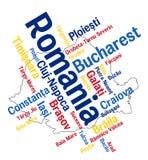 Mapa y ciudades de Rumania stock de ilustración