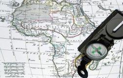 Mapa y compás de África Imagen de archivo