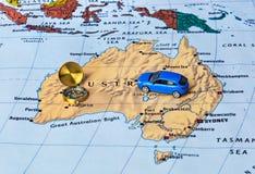 Mapa y compás de Australia Imagen de archivo
