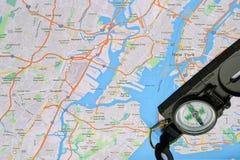 Mapa y compás de Nueva York Fotografía de archivo