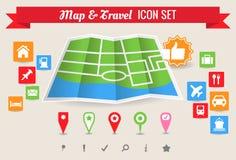 Mapa y conjunto del icono del viaje imagen de archivo