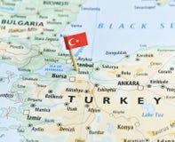 Mapa y flagpin de Turquía Imágenes de archivo libres de regalías