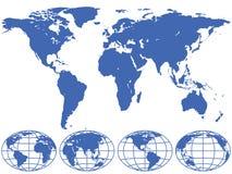 Mapa y globos Imagen de archivo