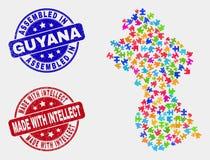 Mapa y Grunge de Guyana del módulo montados y hechos con los sellos del sello del intelecto stock de ilustración