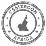 Mapa y texto del sello de goma del grunge del Camerún Fotos de archivo