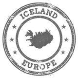 Mapa y texto del sello de goma del grunge de Islandia Foto de archivo