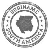 Mapa y texto del sello de goma del grunge de Suriname Foto de archivo libre de regalías