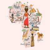 Mapa y viaje de África Imagen de archivo libre de regalías
