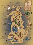 Mapa y voluta del tesoro Imagen de archivo
