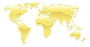 mapa złocisty ciekły świat royalty ilustracja