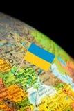 Mapa z Chorągwianym Ukraina Obraz Stock