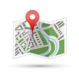 Mapa z czerwieni szpilką, nawigaci ikona odizolowywająca Obrazy Royalty Free