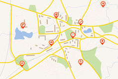 Mapa z czerwieni szpilki pointerami Obrazy Stock