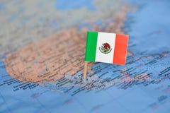 Mapa z flag? Meksyk zdjęcia stock
