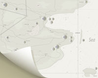 Mapa z ikonami royalty ilustracja
