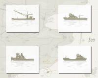 Mapa z statkami royalty ilustracja