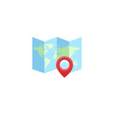 Mapa z szpilką odizolowywającą na bielu W pełni przejrzysty Jakaś tło może używać Fotografia Royalty Free