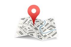 Mapa z szpilką Zdjęcie Stock