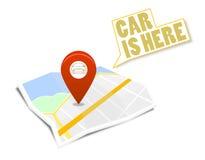 Mapa z szpilki i samochodu znakiem Zdjęcie Royalty Free