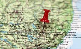 Mapa z wałkowym punktem Belo Horizonte Zdjęcia Stock