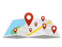 Mapa z wiele szpilka Zdjęcie Stock