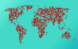 Mapa ziemia, komunikacja Obraz Royalty Free
