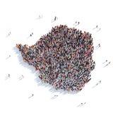Mapa Zimbabwe da forma do grupo dos povos Imagem de Stock