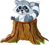 Mapache en tocón de árbol stock de ilustración