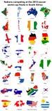 mapas 2010 da bandeira do copo de mundo Fotos de Stock Royalty Free