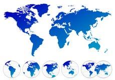 Mapas altamente detalhados do mundo ilustração stock