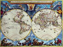 Mapas antigos do mundo Fotos de Stock Royalty Free