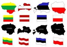 Mapas Báltico dos países   Fotos de Stock Royalty Free