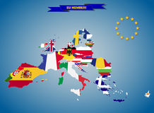 Mapas combinados de la bandera de los países de la unión europea libre illustration