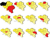 Mapas das províncias de Bélgica Fotos de Stock Royalty Free