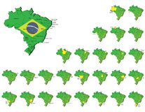 Mapas das províncias de Brasil Fotografia de Stock Royalty Free