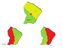 Mapas das províncias de Guiana Fotos de Stock