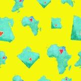 Mapas de Egipto y de África en un modelo inconsútil en un backg amarillo libre illustration