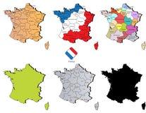 Mapas de França Imagens de Stock