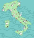 Mapas de Italy do café Imagens de Stock Royalty Free