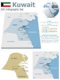 Mapas de Kuwait con los marcadores stock de ilustración