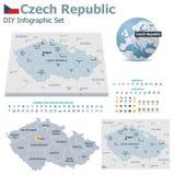 Mapas de la República Checa con los marcadores stock de ilustración